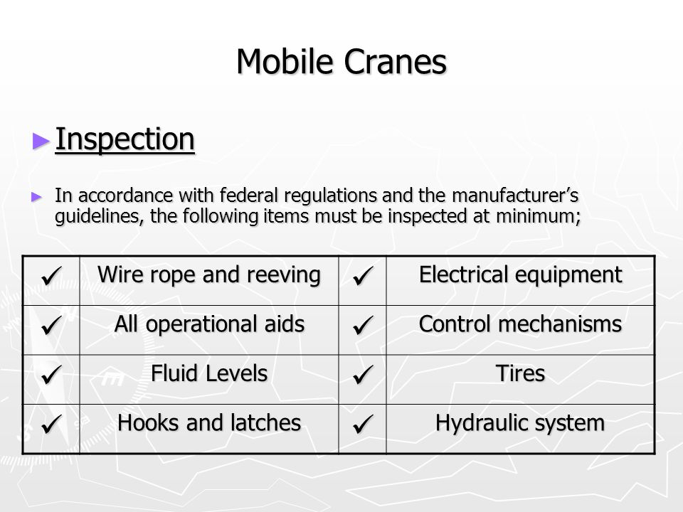 Mobile Cranes Inspection  Wire rope and reeving Electrical equipment