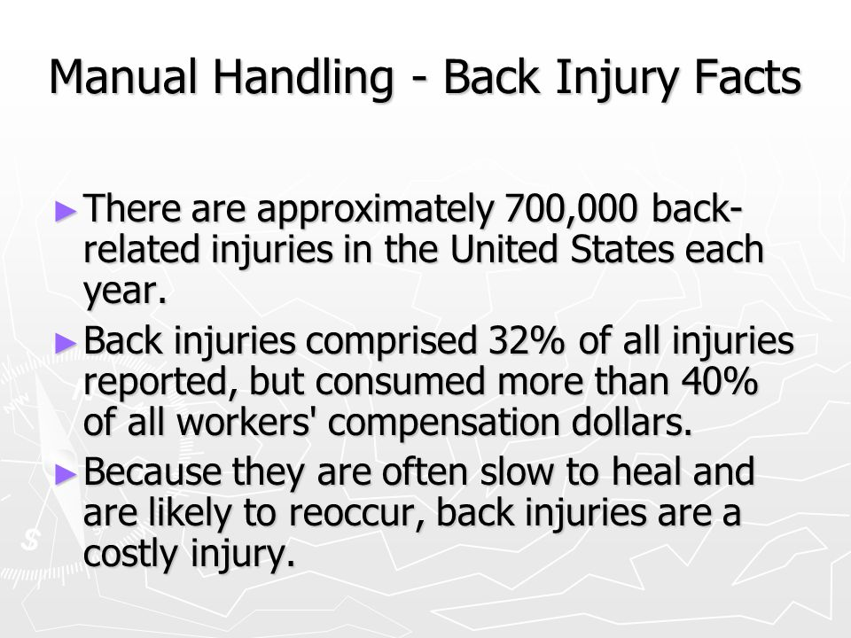 Manual Handling - Back Injury Facts