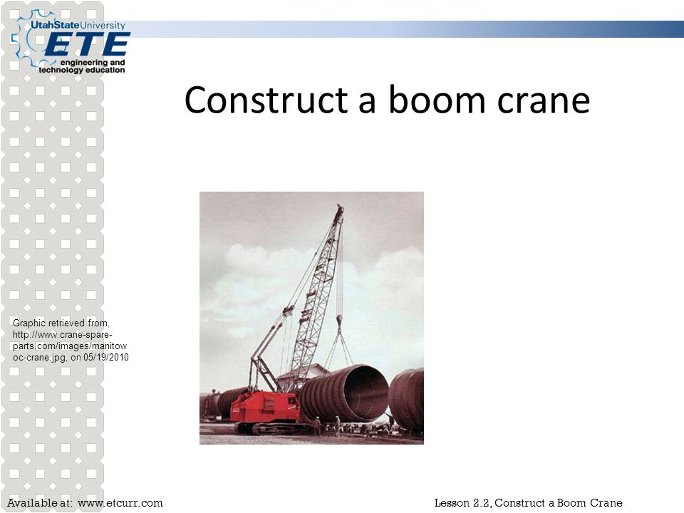 Construct a boom crane Graphic retrieved from,   on 05/19/2010.