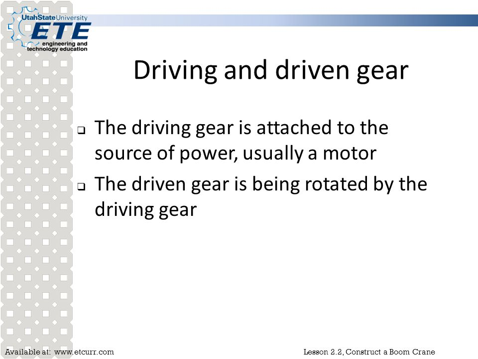 Driving and driven gear