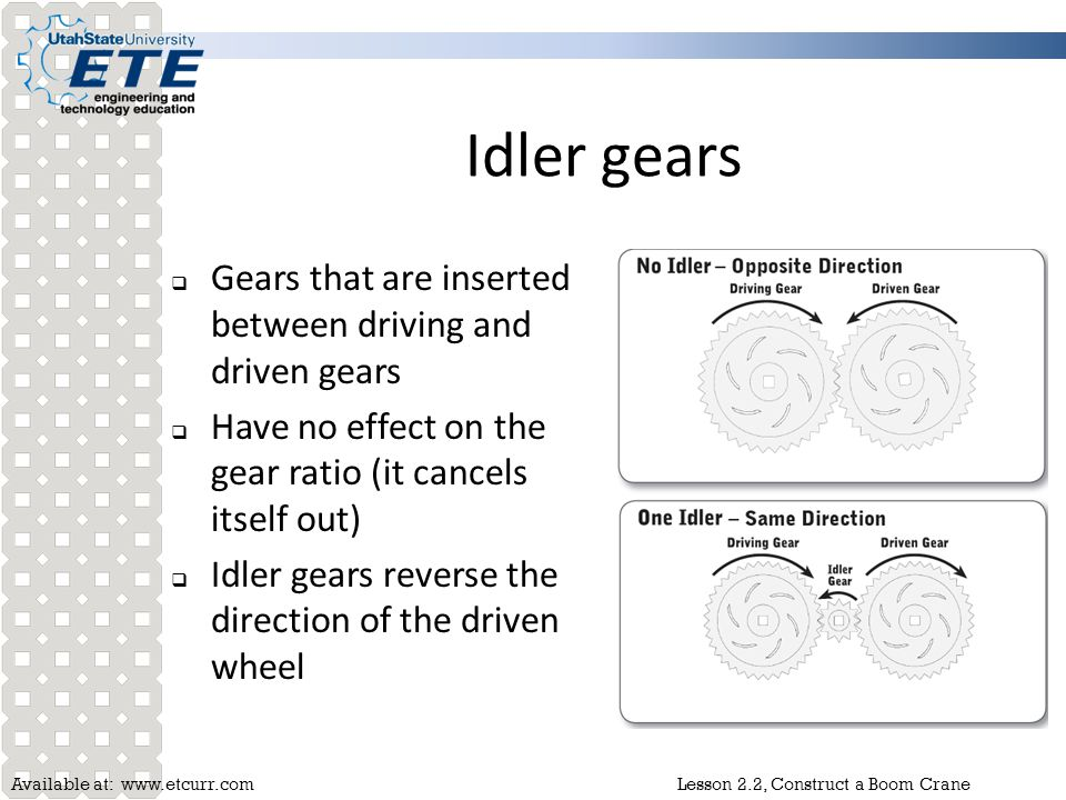 Idler gears Gears that are inserted between driving and driven gears