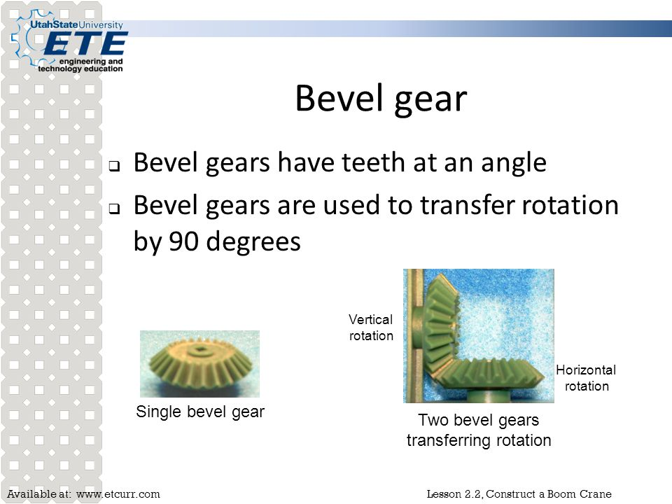 Two bevel gears transferring rotation