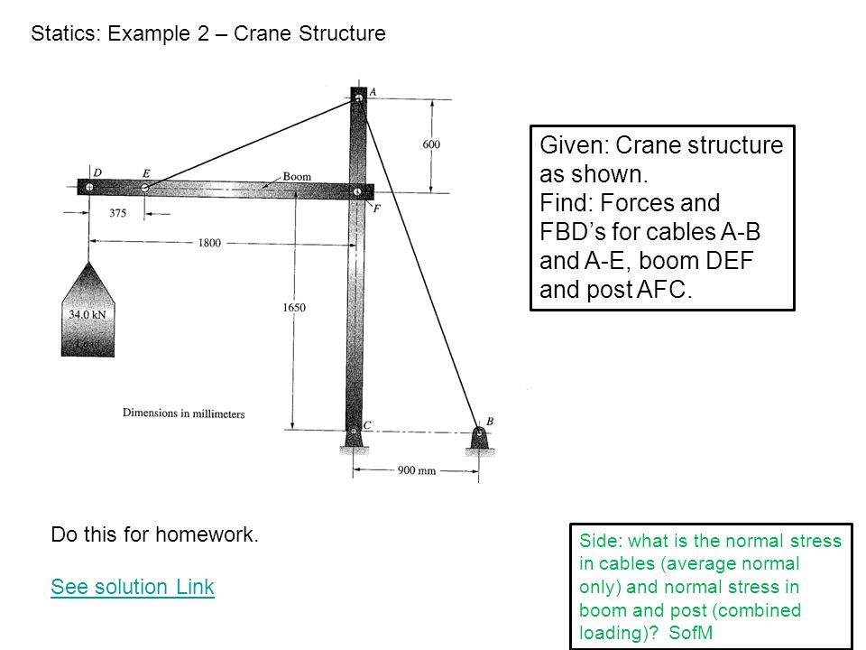 Given: Crane structure as shown.