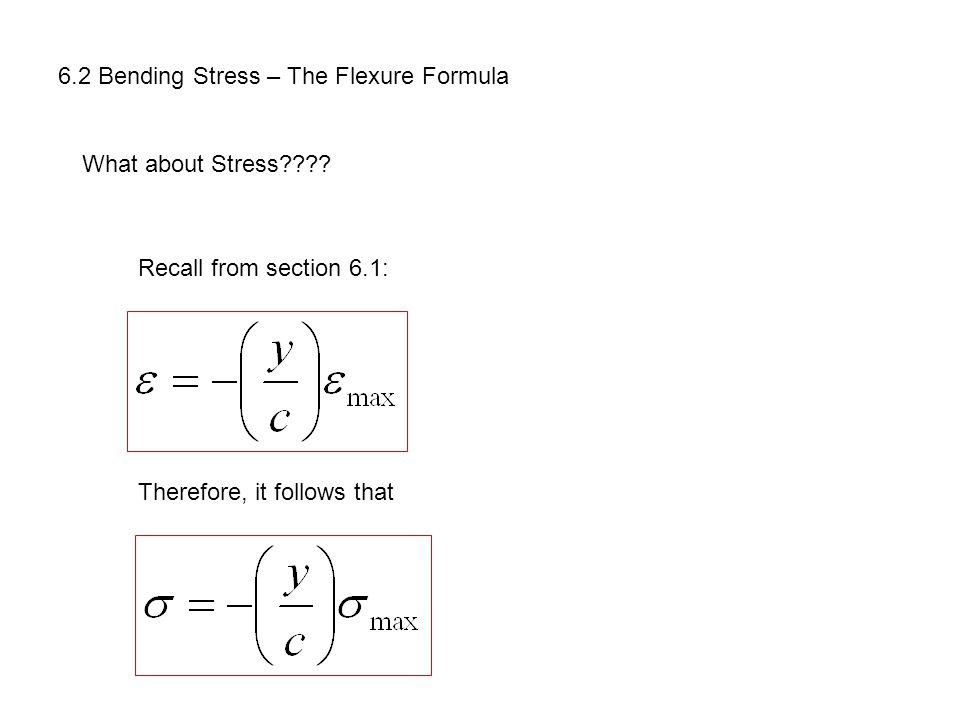 6.2 Bending Stress – The Flexure Formula