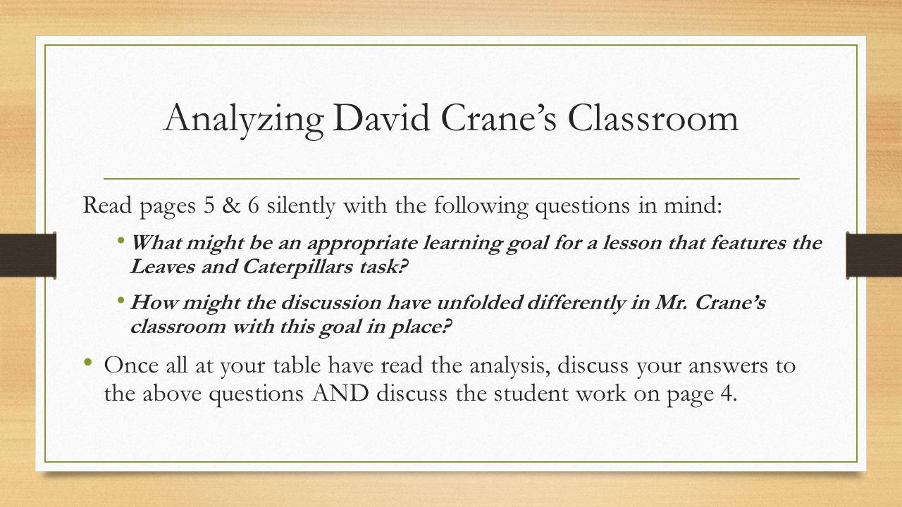 Analyzing David Crane's Classroom