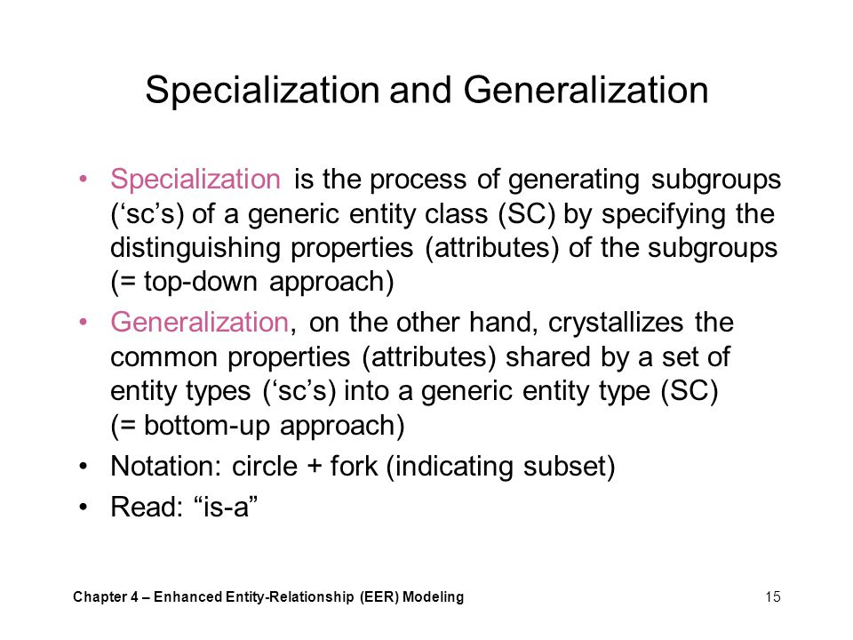 generalisation and specialisation Configuration, specialization, generalization, and constraints the extension  facilities of dita allow existing vocabulary and constraint modules to be  combined.