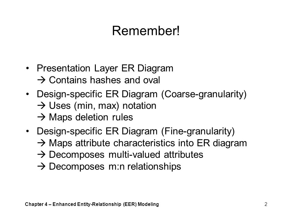 Remember! Presentation Layer ER Diagram  Contains hashes and oval