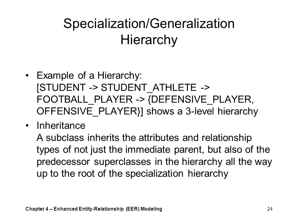 Specialization/Generalization Hierarchy