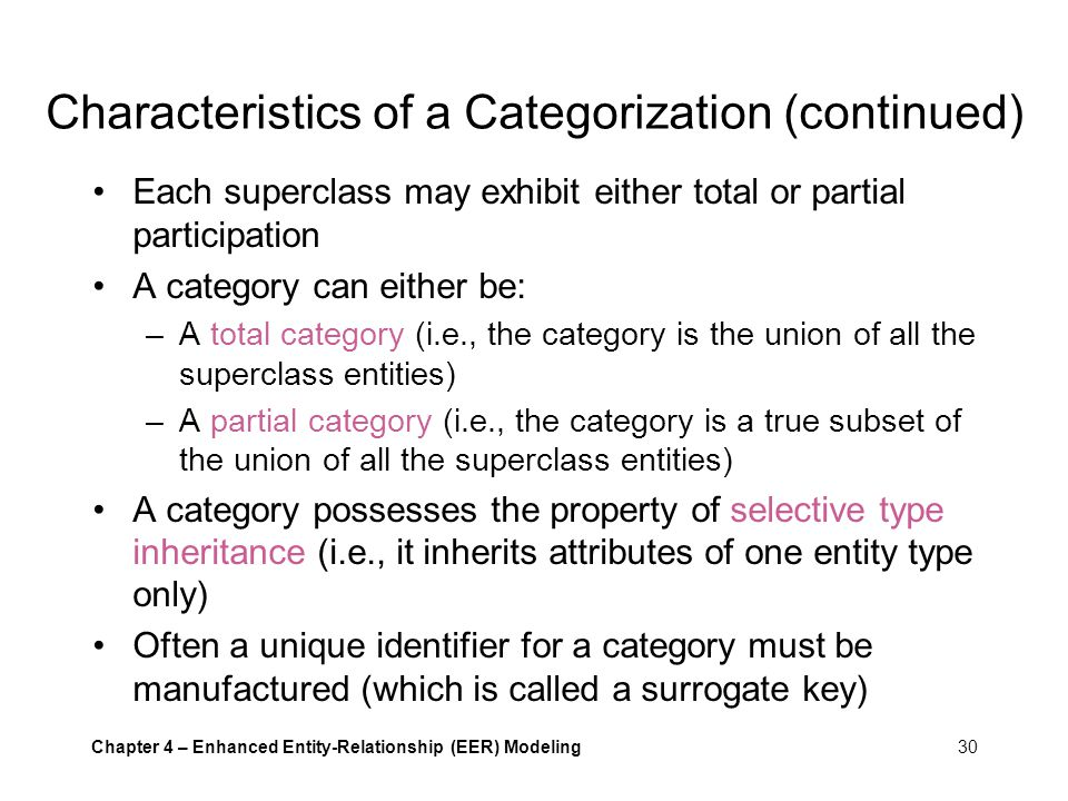 Characteristics of a Categorization (continued)