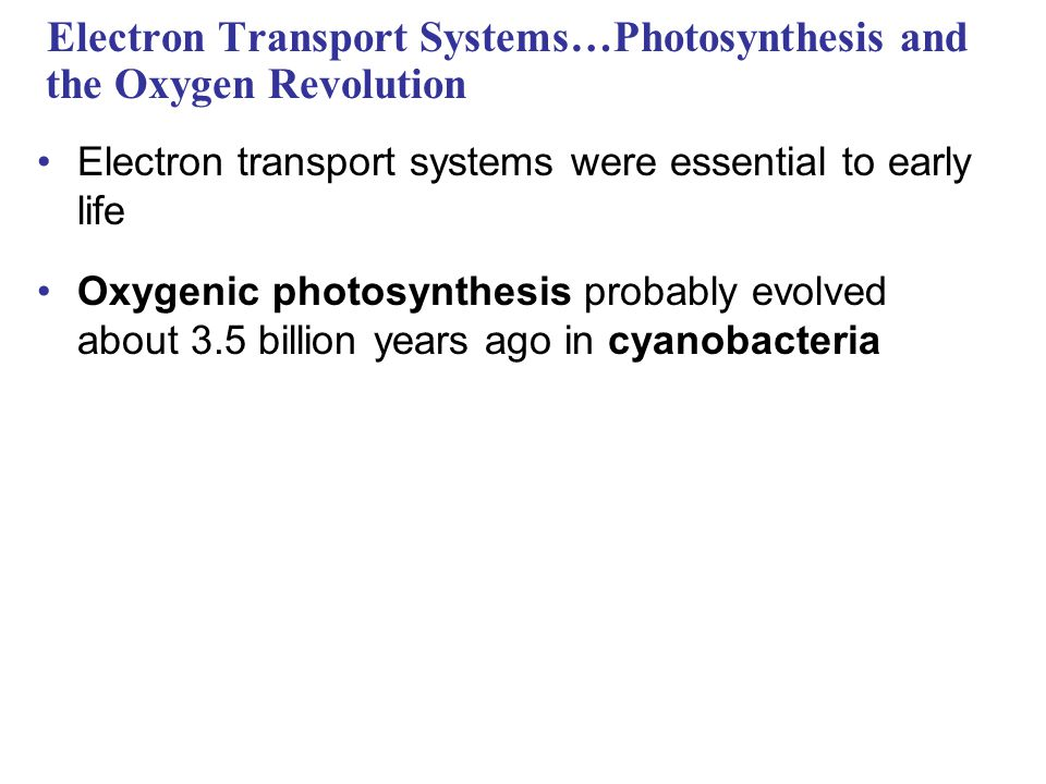 Electron Transport Systems…Photosynthesis and the Oxygen Revolution