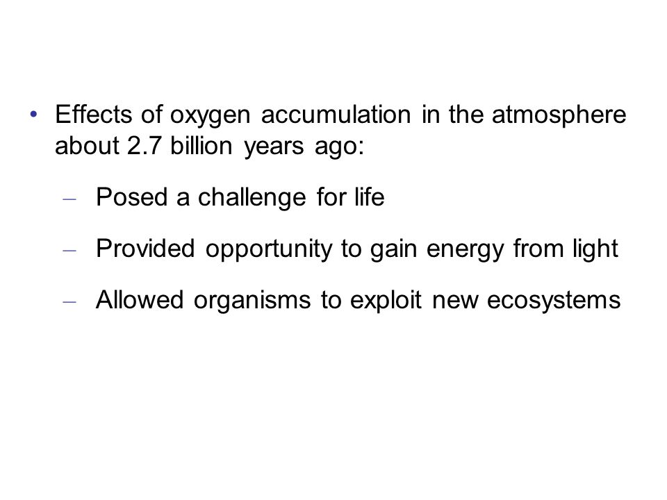 Effects of oxygen accumulation in the atmosphere about 2