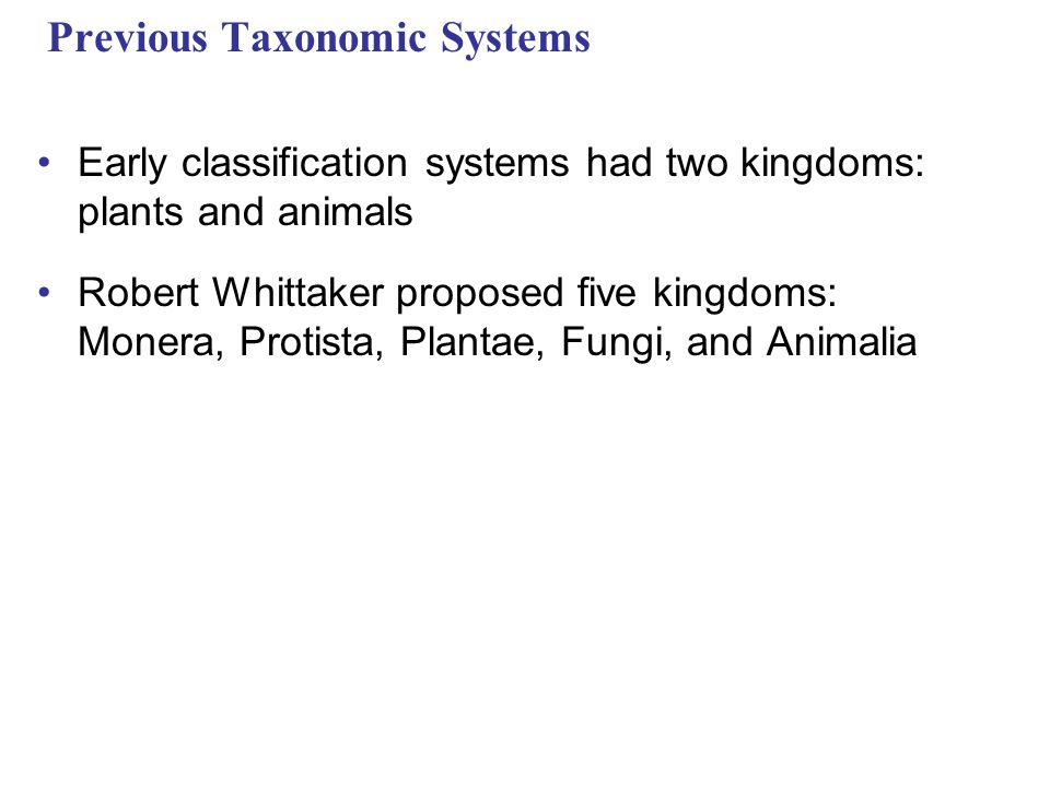 Previous Taxonomic Systems