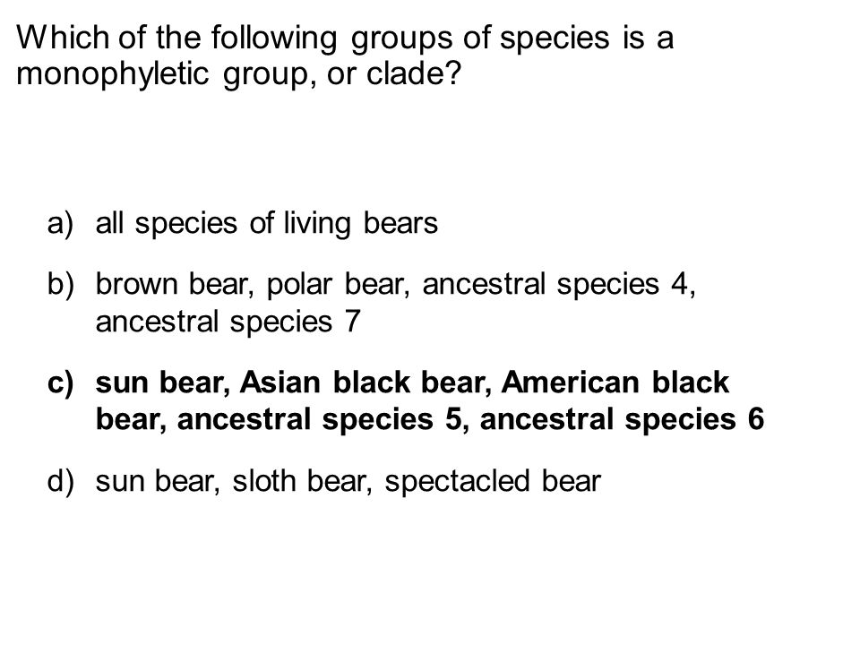 Which of the following groups of species is a monophyletic group, or clade
