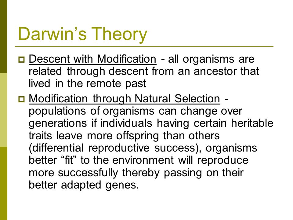 Darwin's Theory Descent with Modification - all organisms are related through descent from an ancestor that lived in the remote past.