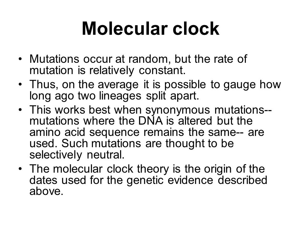 Molecular clock Mutations occur at random, but the rate of mutation is relatively constant.