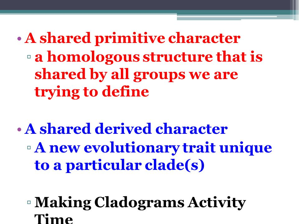 A shared primitive character