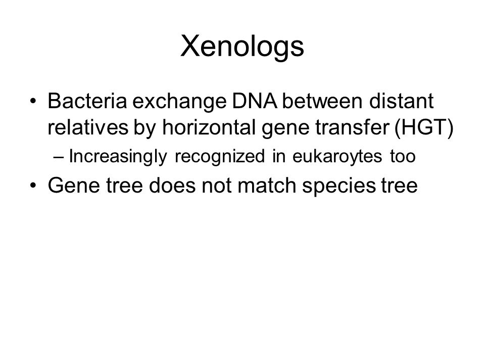 Xenologs Bacteria exchange DNA between distant relatives by horizontal gene transfer (HGT) Increasingly recognized in eukaroytes too.