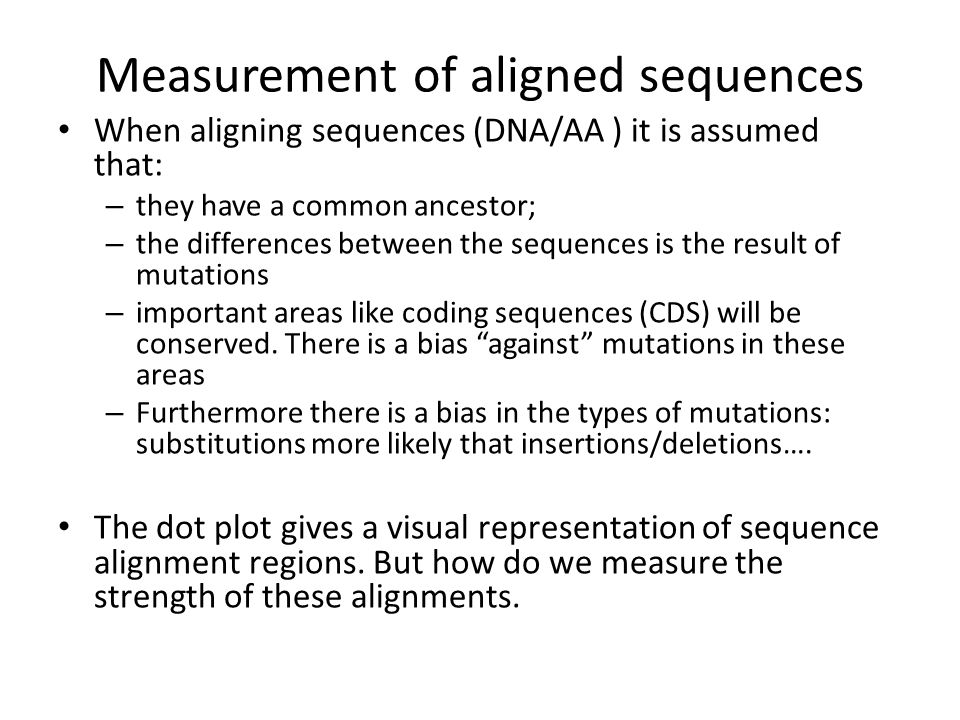 Measurement of aligned sequences