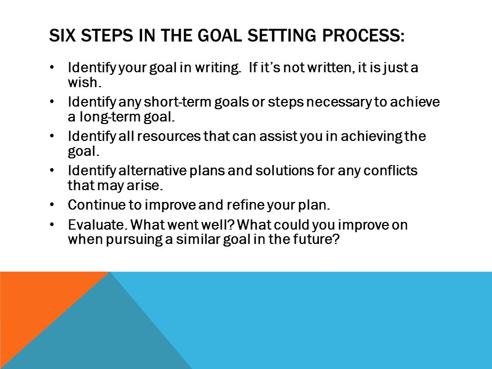Six Steps in the goal setting process: