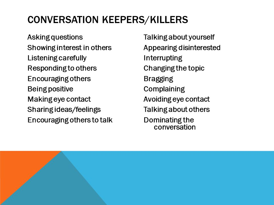 Conversation Keepers/Killers