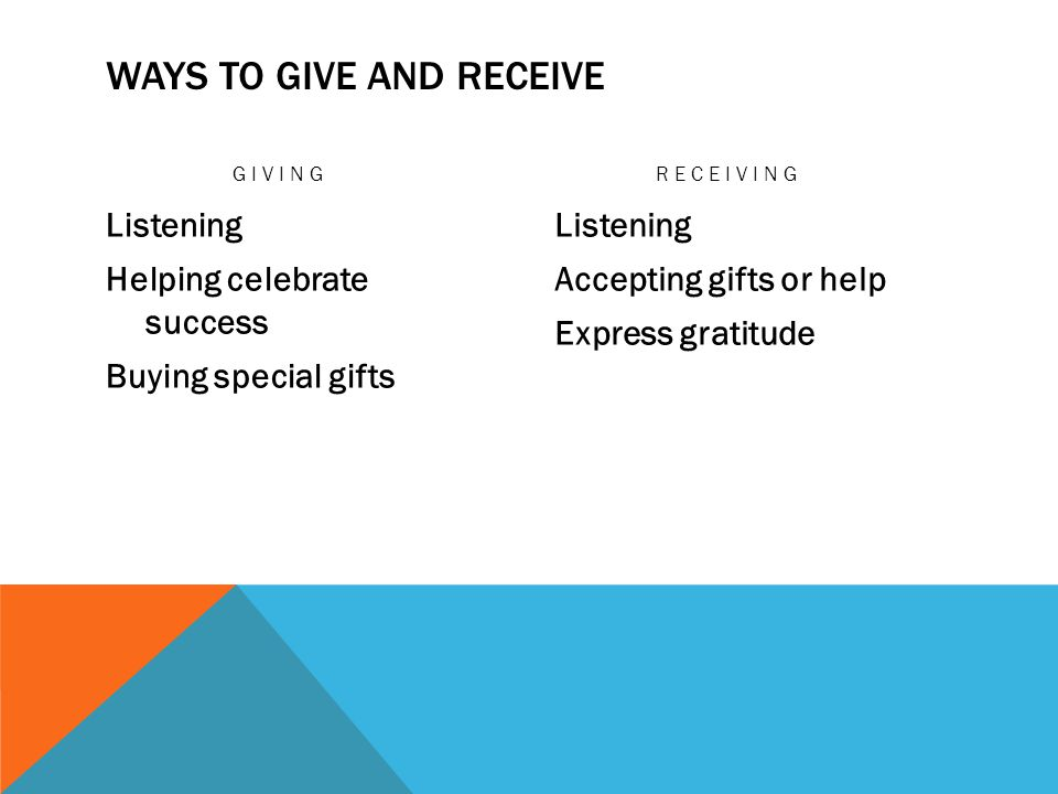 Ways to Give and Receive
