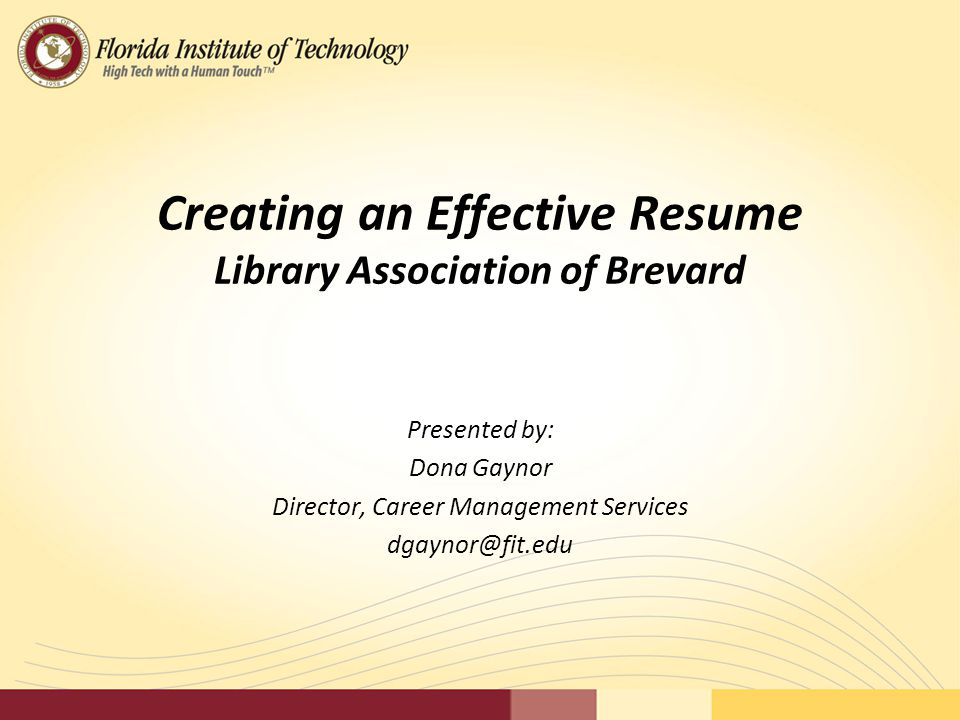 Creating An Effective Resume Library Association Of Brevard  Effective Resume