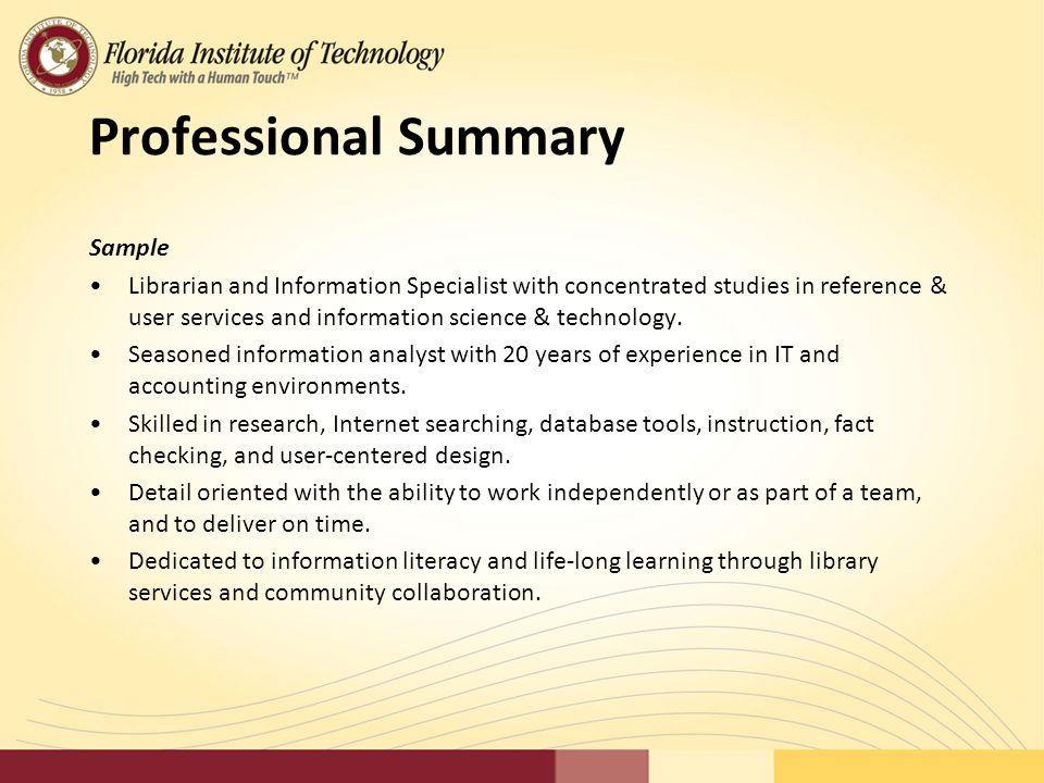 11 Professional Summary Sample  Professional Summary Sample