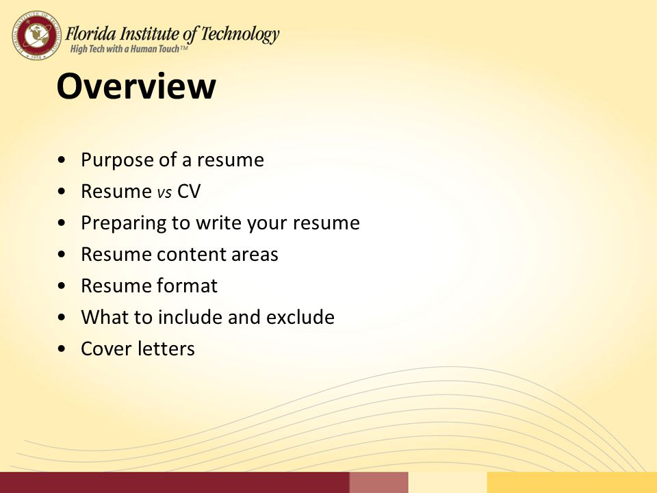 Overview Purpose Of A Resume Resume Vs CV