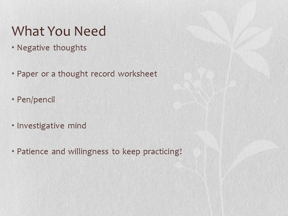 Challenging Negative Thoughts ppt video online download – Thought Record Worksheet