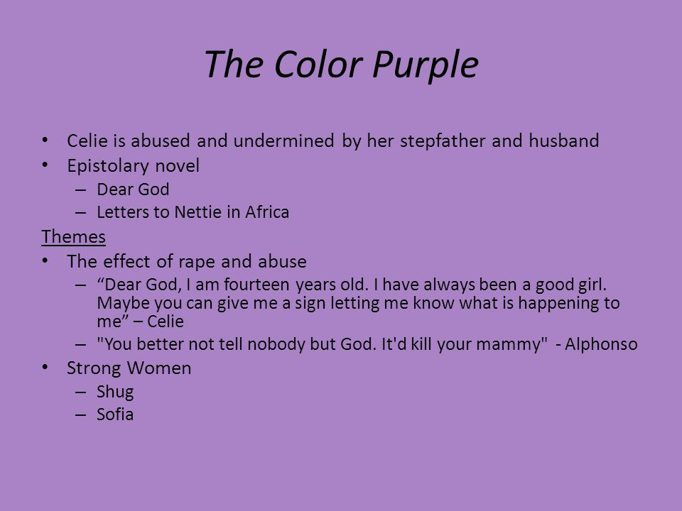 Thesis statement on the color purple