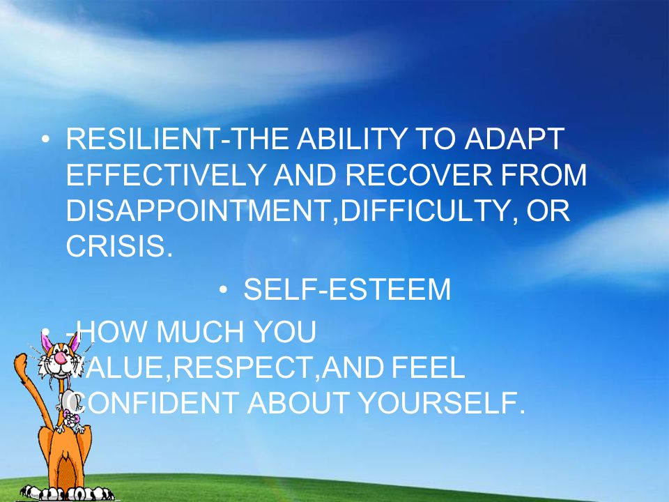 RESILIENT-THE ABILITY TO ADAPT EFFECTIVELY AND RECOVER FROM DISAPPOINTMENT,DIFFICULTY, OR CRISIS.