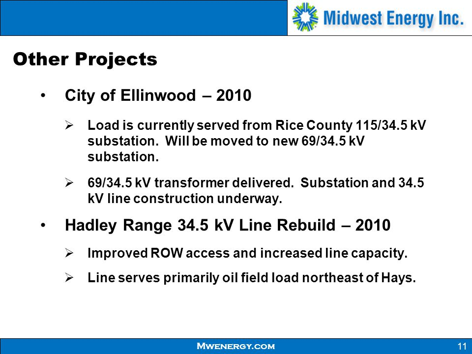 Other Projects City of Ellinwood – 2010