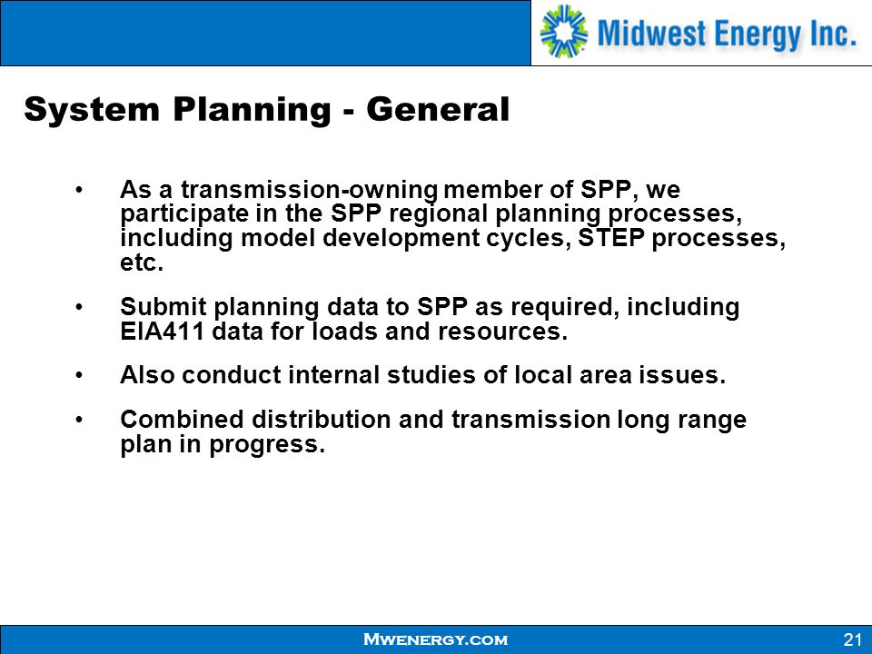 System Planning - General