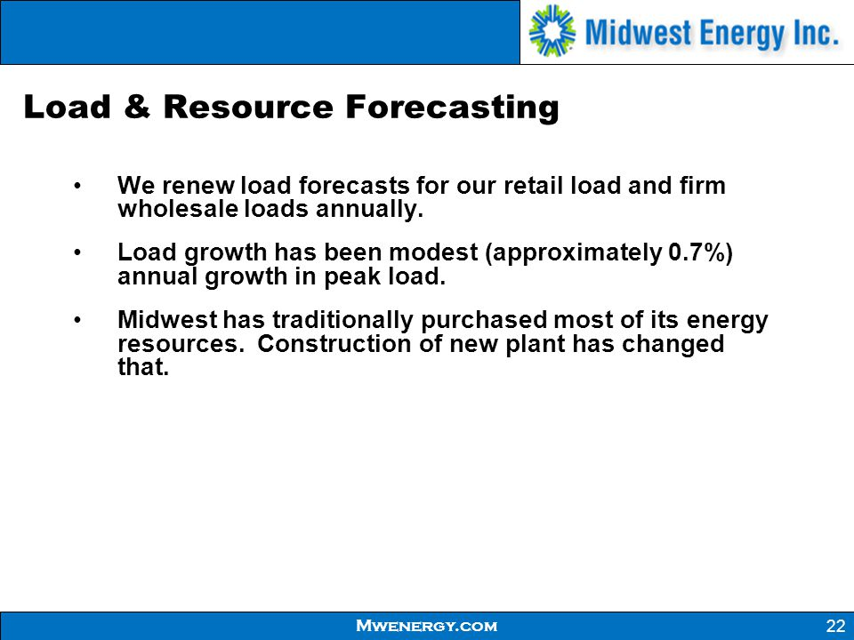 Load & Resource Forecasting