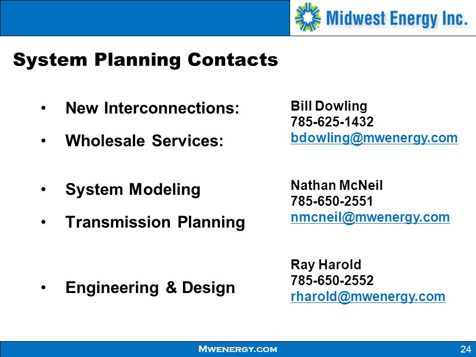 System Planning Contacts