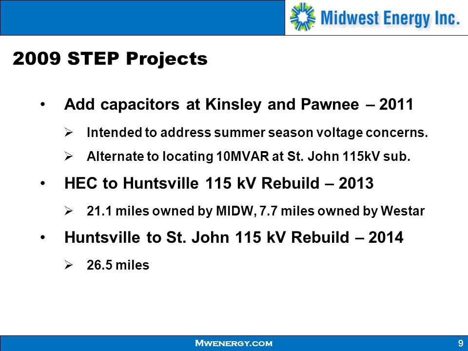 2009 STEP Projects Add capacitors at Kinsley and Pawnee – 2011