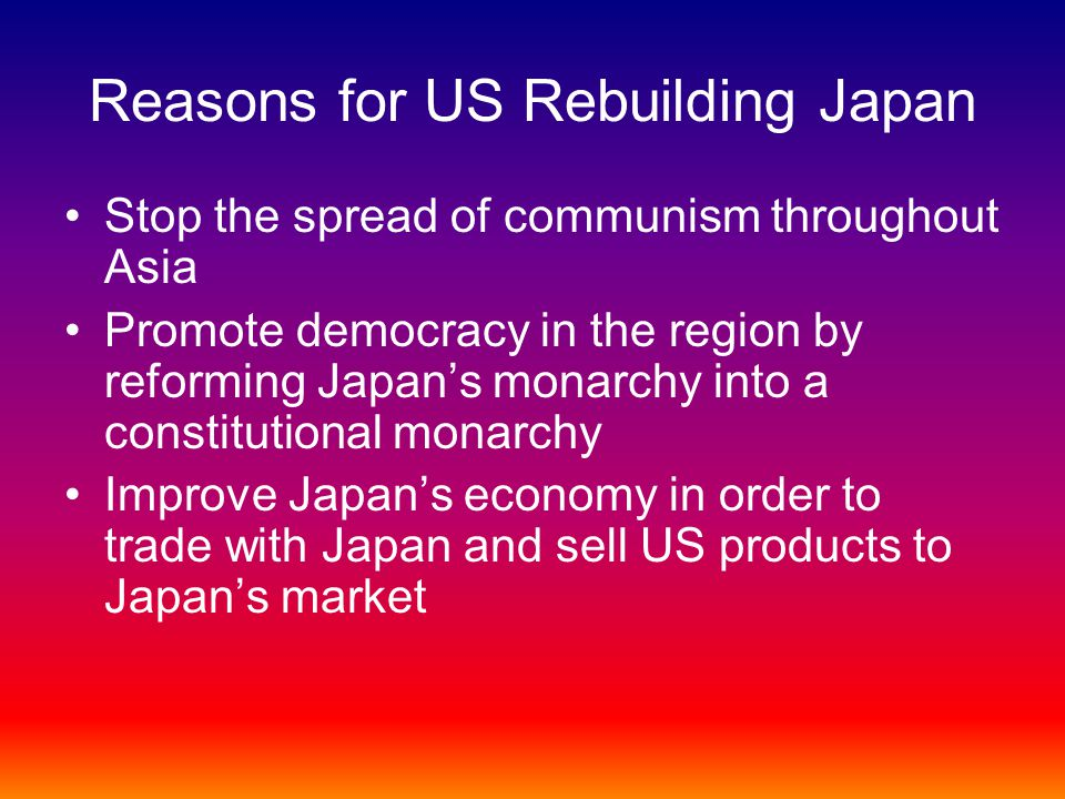 the reasons of the importance of the japanese market for the us Market research the japanese way johny k johansson  for honda in the united states was the senior managers' decision to spend up to 50 % of their time visiting and talking with.