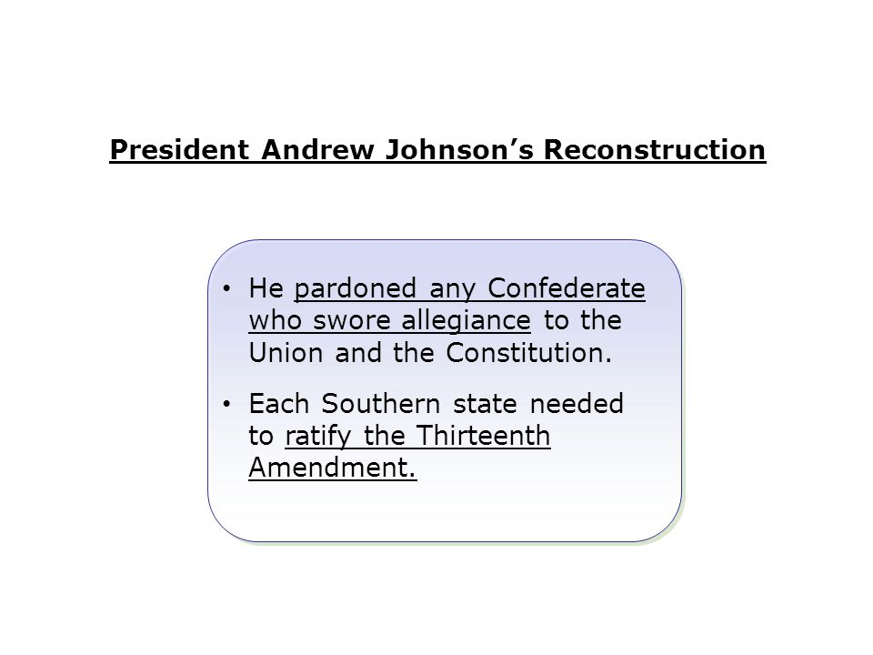 President Andrew Johnson's Reconstruction