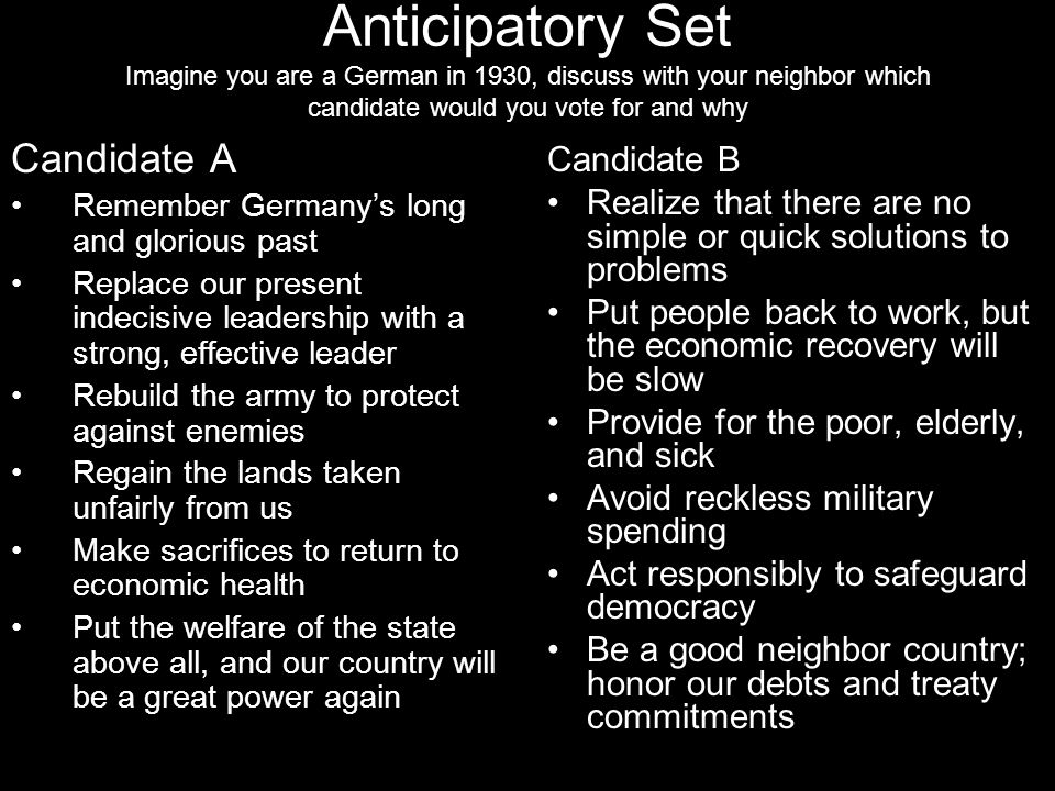 Anticipatory Set Imagine you are a German in 1930, discuss with your neighbor which candidate would you vote for and why