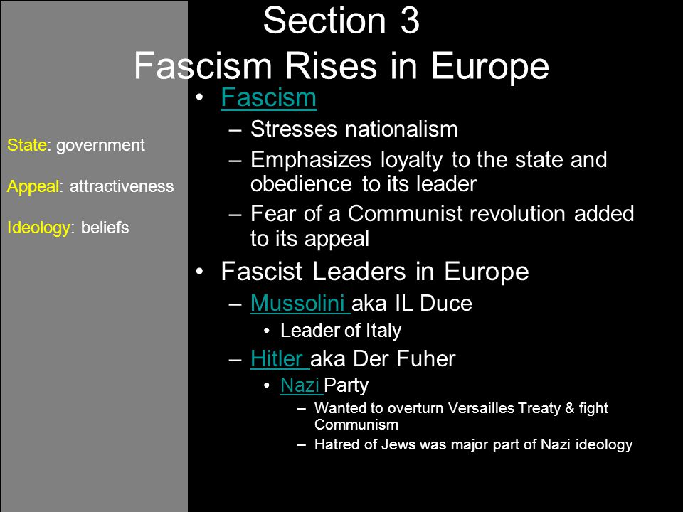 Section 3 Fascism Rises in Europe