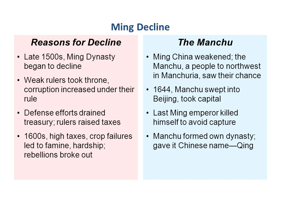 the weaknesses of the manchu dynasty The qing dynasty was the last dynasty of imperial china  decline and  weakness against the western imperialist powers in the 19th century.