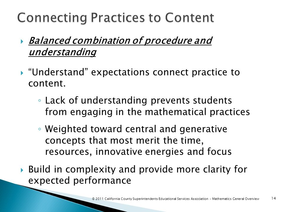 Connecting Practices to Content