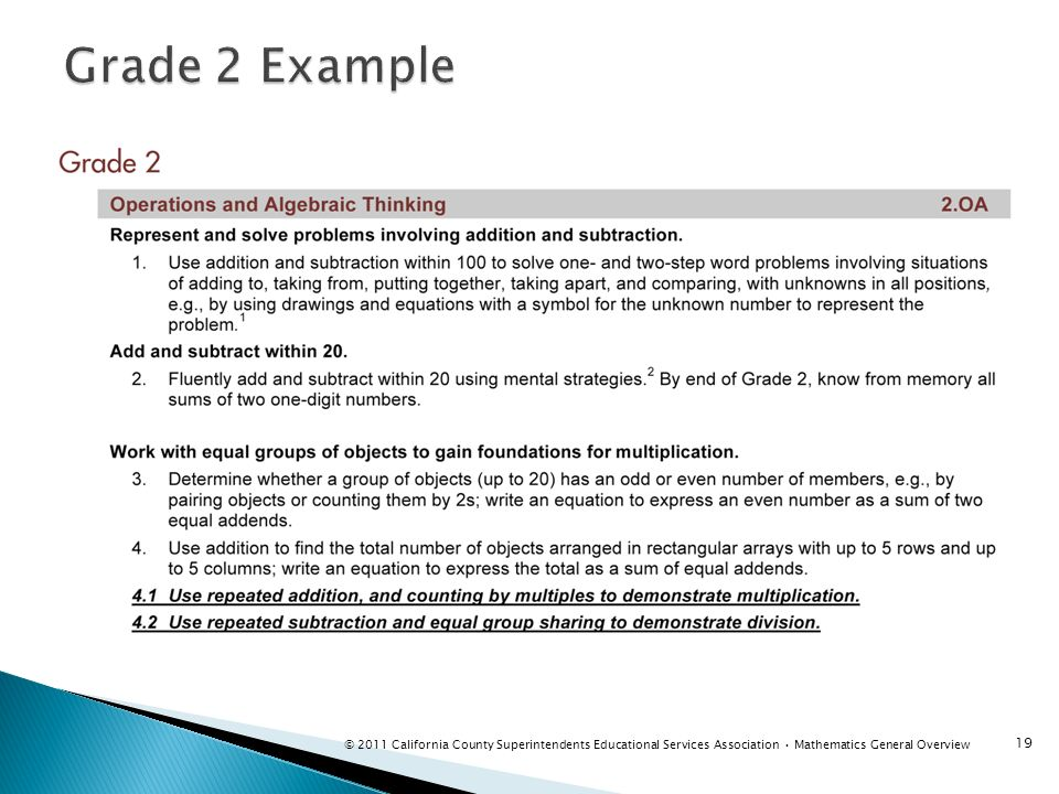 Grade 2 Example Instructor notes: