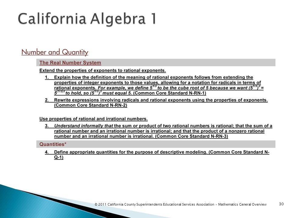 California Algebra 1 Instructor notes: