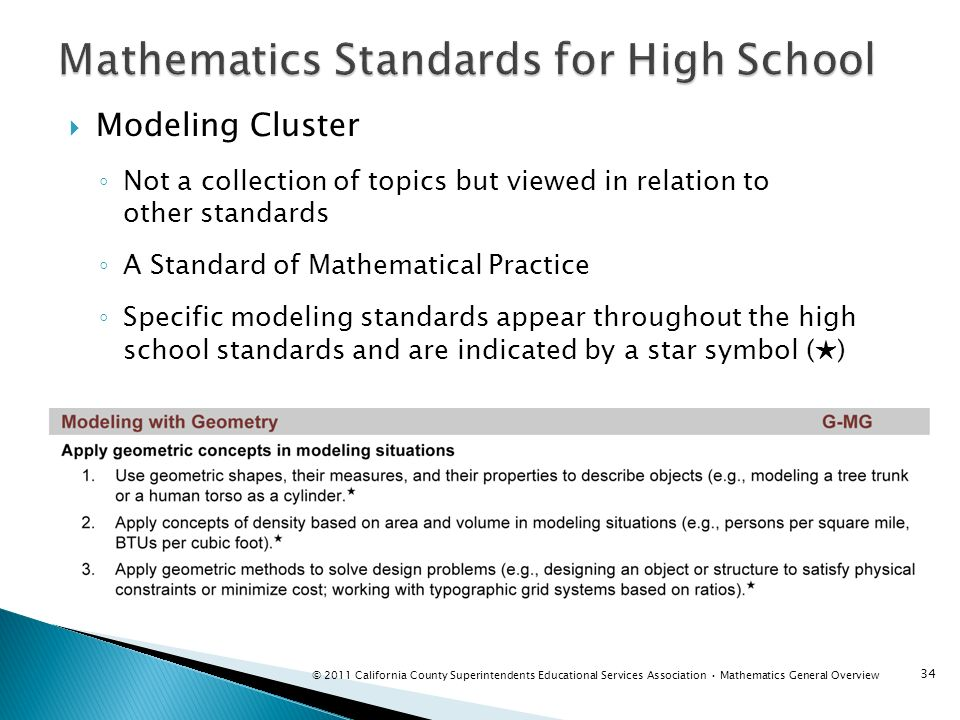 Mathematics Standards for High School
