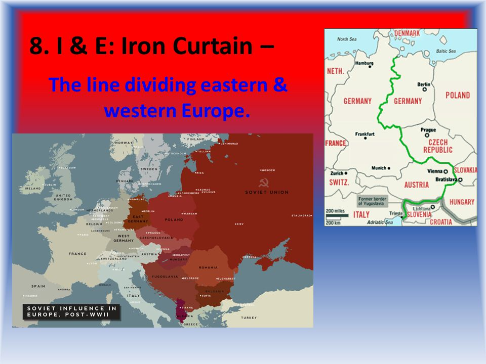 The line dividing eastern & western Europe.