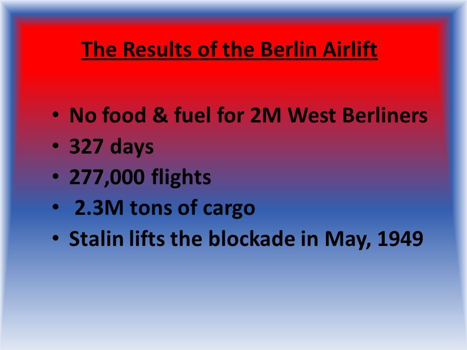 The Results of the Berlin Airlift