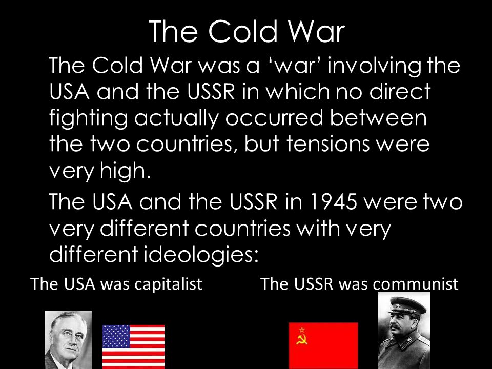 """the different factors that led to the cold war between the us and ussr """"from beginning to the end of cold war"""" full journey us/ussr relationship during ww2 the cold war started right after the end of ww2 the cold war was the geopolitical, ideological, and economic struggle between two world superpowers, the usa and t."""
