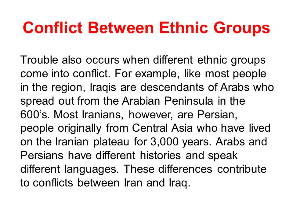 the ethnic conflict between israel and This part of the globalissuesorg web site looks at the ensuing crisis between palestine and israel  the anatomy of the arab-israeli conflict from megastories.