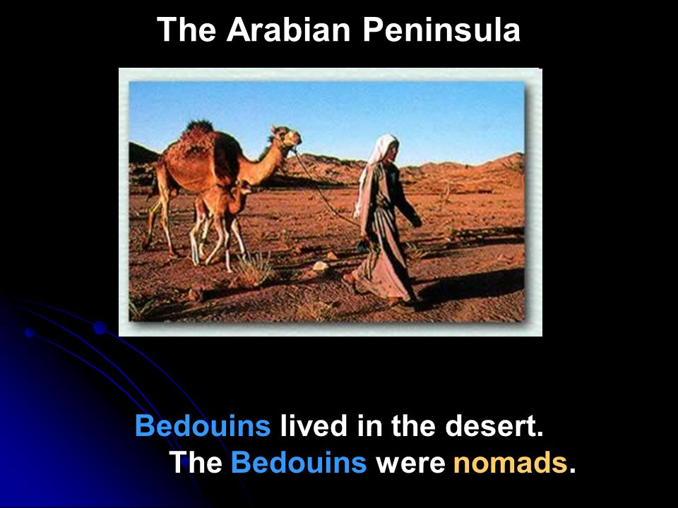 Bedouins lived in the desert. The Bedouins were nomads.